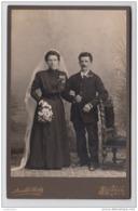 Cabinet Photo - Photo On Cardboard - Wedding Photo - Liestal - Atelier Arnold Seiler - Studio Photo - 167/106 Mm - Ancianas (antes De 1900)