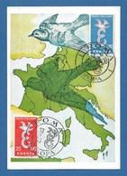 Italien / Italiane  1958  Mi.Nr. 1016 / 1017 , EUROPA CEPT Taube - Maximum Card - ROM 13.9.1958 - Europa-CEPT
