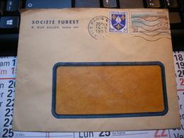 Ancienne Enveloppe SOCIETE TUBEST Avec 2 Timbres ROYAN Et SAINTONGE. 1955 Et L'Etoile - Paris - Au Dos. - Vieux Papiers