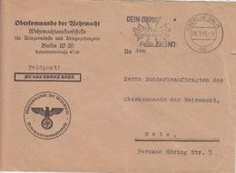 Lettre Pré-imprimée (Oberkommando...) Obl Flamme Berlin-SW 11 Ag (Dein Dank...Croix De Fer) En Franchise Le 8/1/42 - Cartas