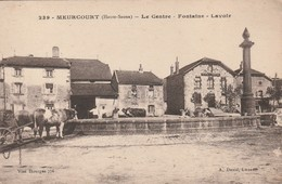 Rare Cpa Meurcourt Le Centre Fontaine Lavoir Animée Avec Boeufs - France