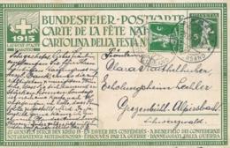 Helvetia / Schweiz - 1915 - 5 (+15) Cts Bundesfeier Postkarte + 5 Cts - Heimatlosenzug - From Aarau To Schwarzwald - Stamped Stationery