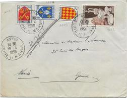 LETTRE AFFRANCHIE N° 972 +N°1003-1005 Et 1047 OBLITERE CAD  AVON -SEINE ET MARNE 1956 - Marcophilie (Lettres)