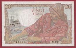"""20 Francs """"Pêcheur"""" Du 10/03/1949.A---TTB+---ALPH .N.193----.1 TROU D EPINGLE - 1871-1952 Anciens Francs Circulés Au XXème"""
