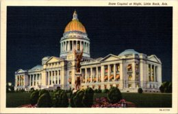 Arkansas Little Rock State Capitol At Night Curteich - Little Rock