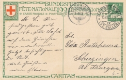 Helvetia / Schweiz - 1921 - 10 (+20) Cts Bundesfeier Postkarte - Nurse - From Rapperswil To Scherzingen - Ganzsachen