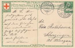 Helvetia / Schweiz - 1921 - 10 (+20) Cts Bundesfeier Postkarte - Nurse - From Rapperswil To Scherzingen - Enteros Postales