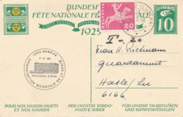 Helvetia / Schweiz - 1925 - 10 (+20) Cts Bundesfeier Postkarte + 20c - Children - From Luzern To Luxembourg - Late Use - Ganzsachen