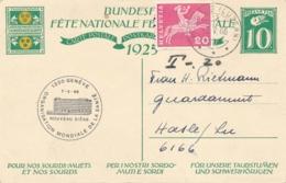 Helvetia / Schweiz - 1925 - 10 (+20) Cts Bundesfeier Postkarte + 20c - Children - From Luzern To Luxembourg - Late Use - Stamped Stationery
