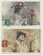 Lot De 5 Cartes - Femme Avec Fleurs De Pêcher Muguet Hortensia Oeillet Iris - Femmes