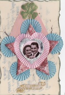 MLV407   Heureux Anniversaire Couple Mariés Fleurs Dentelle 3D Carte Plastifiée Carte Postale Ancienne - Belgique