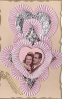 MLV415   Bonne Année Couple Mariés Fleurs Dentelle 3D Carte Plastifiée Carte Postale Ancienne - Belgique
