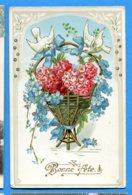 NY199, Bonne Fête, Colombe, Panier Doré, Fleur, Rose, Circulée 1910 - Fêtes - Voeux