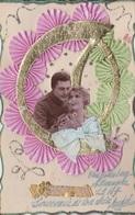 MLV419   Bonne Année Couple Militaire Milicien Fleurs Dentelle 3D Carte Plastifiée Carte Postale Ancienne  De 1947 Badgo - Belgique
