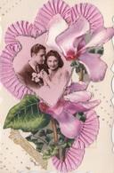 MLV422   Bonne Année Couple Mariés Fleurs Dentelle 3D Carte Plastifiée Carte Postale Ancienne  De 1948 - Belgique