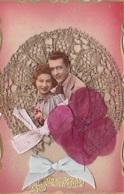 MLV423   Heureux Anniversaire Couple Mariés Amant Dentelle 3D Carte Plastifiée Carte Postale Ancienne - Belgique