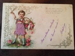 """Cpa, Gaufrée, Fantaisie, Enfant Avec Colombes, Panier De Roses """"un Coeur Noble Et Sincère Comme La Rose..."""" 1905 - Nouvel An"""