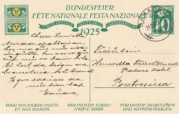 Helvetia / Schweiz - 1925 - 10 (+20) Cts Bundesfeier Postkarte - Boy - From Samaden To Poutresina - Stamped Stationery