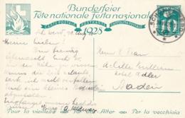 Helvetia / Schweiz - 1928 - 10 (+20) Cts Bundesfeier Postkarte - Alte Frau & Kind - From Schönenwerd To Baden - Ganzsachen