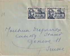 Lettre Affranchie à 30F. Pour La Suisse - TP N° 1052 (paire) Colonel DRIANT Au Bois Des Corps. TTB. - Marcophilie (Lettres)