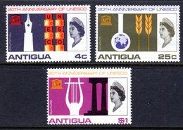 ANTIGUA - 1966 UNESCO ANNIVERSARY SET (3V) FINE MNH ** SG 196-198 - Antigua & Barbuda (...-1981)