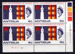 ANTIGUA - 1966 UNESCO 4c CORNER MARGIN COLOUR CONTROL BLOCK OF 4 FINE MNH ** SG 196 X 4 - Antigua & Barbuda (...-1981)
