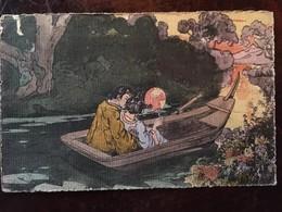 Cpa, Illustrateur, Couple D'amoureux Japonais, En Barque, écrite En 1905, Série 6001 - Illustrateurs & Photographes