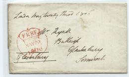 Pre Stamp Free Front .London To Glastonbury. Entire Letter. About A Hamper Delivery. George 111 Reign 1806 - ...-1840 Precursori