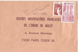 France, Enveloppe Retour Oeuvre Ordre De Malte  Timbrée Avec N° 1965 + 2049 - Variedades Y Curiosidades