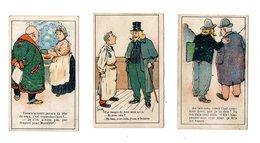 3 Chromos Imp. Katz, Humour, Chaussures Girou, Choisy - Chromos