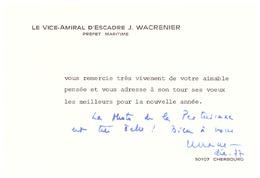 LE VICE-AMIRAL D'ESCADRE J. WACRENIER PREFET MARITIME REMERCIE ET PRESENTE SES VOEUX - Documents