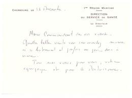 LE DIRECTEUR DU SERVICE SANTE-DE LA 1 REGION MARITIME -CHERBOURG PRESENTE SES VOEUX A LA PERTUISANE - Documents