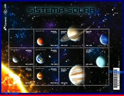 Ref. BR-V2020-04 BRAZIL 2020 - SOLAR SYSTEM, SPACE EXPLORATION, VENUS, EARTH, MOON, MARS, S/S WITH 9V, MNH - Brésil