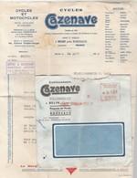EMA Lettre Avec Facture Entête CAZENAVE Cycles Et Motocycles BELIN Gironde 24/8/1956 - Postmark Collection (Covers)