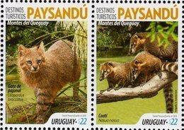 Uruguay - 2019 - Tourist Destinations - Paysandu - Pantanal Cat And Coati - Mint Stamp Set - Uruguay