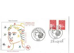 France, FDC Marianne 14 Juillet - 2 Exemplaires N° 3083 Rouge Sans Valeur - Signé Par Eve Luquet - 1990-1999