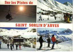 73 St Sorlin D'Arves Vers St Jean De Maurienne En 1986 Tampon Au DOS Hôtel De La Balme Eric Walquevis Skieurs Télésiège - Saint Jean De Maurienne