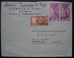 Pomigliano D'Arco 1951 Per Via Aera Giovanni Terracciano & Figli Fabbrica Di Fusti Ferrovia + Aera Posta Pour Algérie - 6. 1946-.. Repubblica