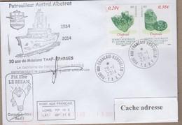 TAAF PLI KERGUELEN 28 1 2014 SUR TP 603/603 Patrouilleur Austral ALBATROS 2 Signatures. - Non Classificati