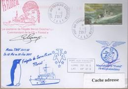 TAAF PLI KERGUELEN 1 6 2017 SUR TP 660 Frégate De Surveillance FS FLOREAL 2 Signatures. - Terres Australes Et Antarctiques Françaises (TAAF)