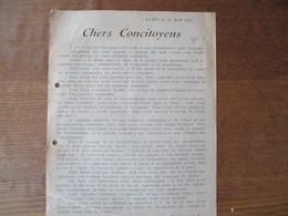CLARY LE 22 AVRIL 1925 COURRIER DE EUGENE LOISEAUX MAIRE CHERS CONCITOYENS - Historische Dokumente