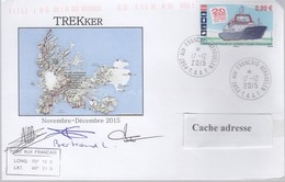 TAAF PLI KERGUELEN 17 12 2015 Sur TP 751 Illustration TREKker 3 Signatures - Terres Australes Et Antarctiques Françaises (TAAF)