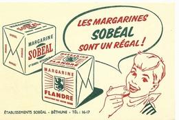 BUVARD SOBEAL MARGARINE, Etablissement Sobeal A Bethune Pas De Calais , Produit Alimentaire , - Alimentos