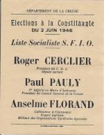 Departement De La CREUSE Elections à La Constituante Du 2 Juin 1946 - Historical Documents