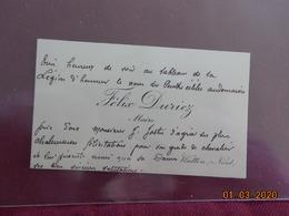 Carte De Visite - Félix Duriez, Maire De Watten (59) - Visitenkarten