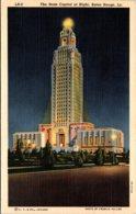 Louisiana Baton Rouge State Capitol At Night Curteich - Baton Rouge