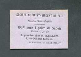 WWI Monnaie De Nécessité Carton De Rationnement - Bourges (Cher) Bon Pour 1 Paire De Sabots / Sté St Vincent De Paul WW1 - Monetary / Of Necessity
