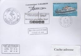 TAAF PLI KERGUELEN  12 9 2013 Sur TP 520 Cachets Marion Dufresne Posté à Bord Signé VOIR Cachets Recto/verso - Zonder Classificatie