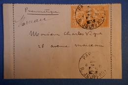 B24 FRANCE LETTRE PNEUMATIQUE  1902 MARCEAU A PARIS + TEMOIGNAGE + PAIRE MOUCHON ET AFFANCHISSEMENT PLAISANT - France