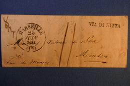 B24 FRANCE LETTRE  RARE 1841 PRINCIPAUTé  MONACO PAR  MARSEILLE VIA NICE MENTON + TEMOIGNAGE + TAXE MANUSCRITE - 1801-1848: Précurseurs XIX